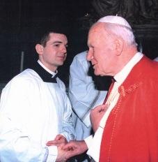 Jean Pfleiger et Jean-Paul II, Basilique Saint-Pierre, 1983