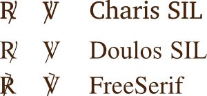 glyph response and versiculum for fonts FreeSerif, Doulos SIL and Charis SIL